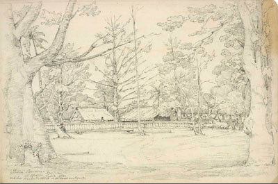 Résidence de la Reine Pomare à Oparrea (1822)