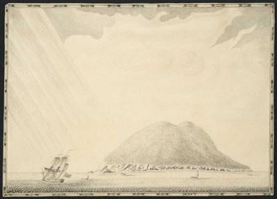 Le Dolphin croise au large de Mehetia (1767)