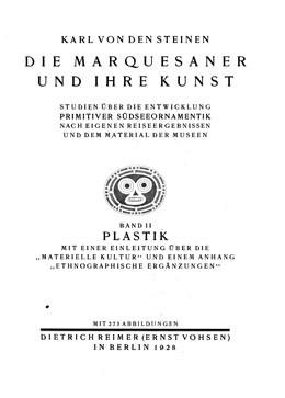 Die Maŕquesaner und ihre Kunst : Primitive südseeornamentik – Plastik – Volume 2 (1925)