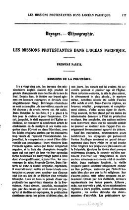 Les missions protestantes dans l'Océan Pacifique (1855)