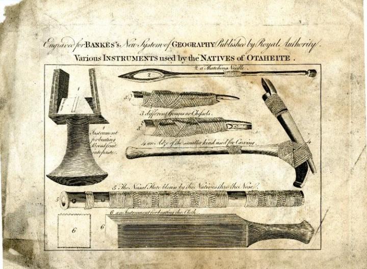 Divers outils utilisés par les natifs de Tahiti