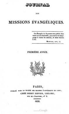 Journal des missions évangéliques – Première année (1826)