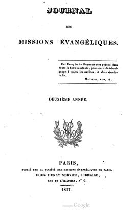 Journal des missions évangéliques – deuxième année
