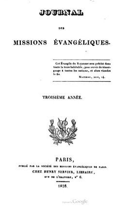 Journal des missions évangéliques – Troisième année (1828)