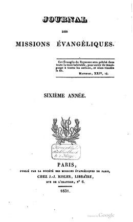 Journal des missions évangéliques – Sixième année (1831)