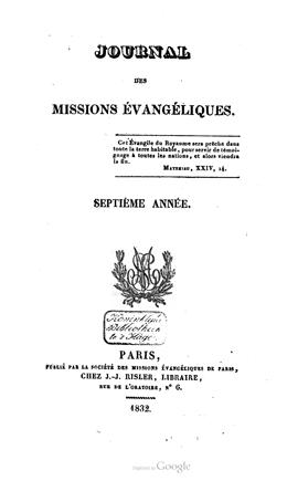 Journal des missions évangéliques – Septième année (1832)