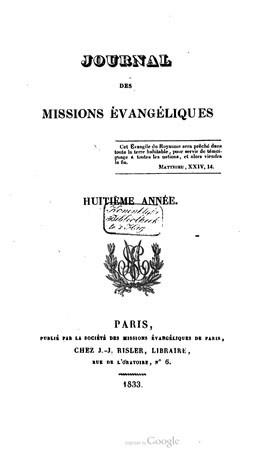 Journal des missions évangéliques – Huitième année (1833)