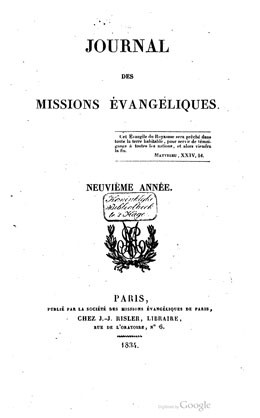 Journal des missions évangéliques – Neuvième année (1834)