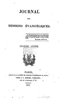 Journal des missions évangéliques – Dixième année (1835)