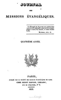 Journal des missions évangéliques – Quatrième année (1829)