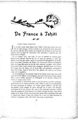 De France à Tahiti – Journal de la jeune fille (1913)