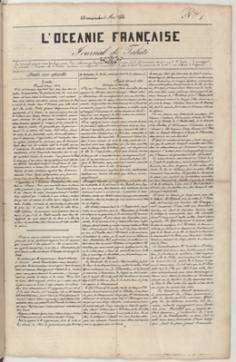 L'Océanie française – Journal de Tahiti – N°1 – 5 mai 1844