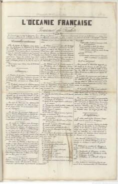 L'Océanie française – Journal de Tahiti – 29 décembre 1844