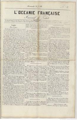 L'Océanie française – Journal de Tahiti – N°21 du 22 septembre 1844