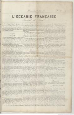 L'Océanie française – Journal de Taïti – N°10 du 7 juillet 1844