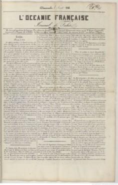 L'Océanie française – Journal de Tahiti – N°14 du 4 août 1844