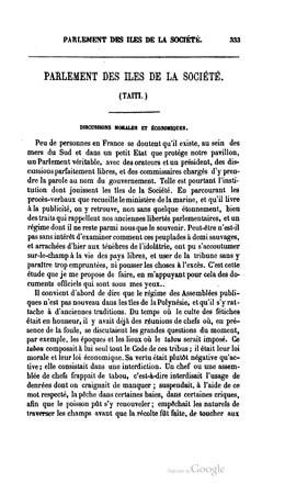 Journal des économistes – Parlement des îles de la Société – Partie I (1853)
