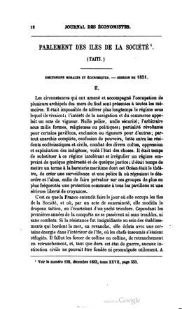 Journal des économistes – Parlement des îles de la Société – Partie II (1854)