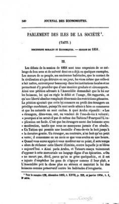 Journal des économistes – Parlement des îles de la Société – Partie III (1854)