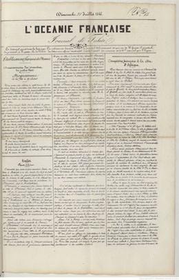 L'Océanie française – Journal de Tahiti N°13 – 28 juillet 1844