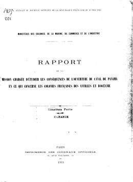 Rapport sur les conséquences de l'ouverture du canal de Panama pour les colonies françaises d'Océanie (1913)