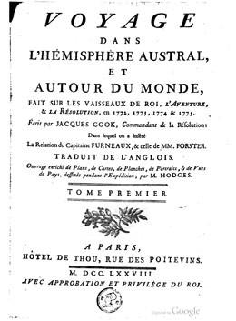 Voyage dans l'hémisphère austral, et autour du monde – Tome Premier (1778)