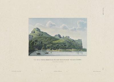 Vue de la partie méridionale de l'île de Maupiti et du village d'Atipiti (1826)
