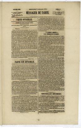 Messager de Tahiti – 10 juillet 1853