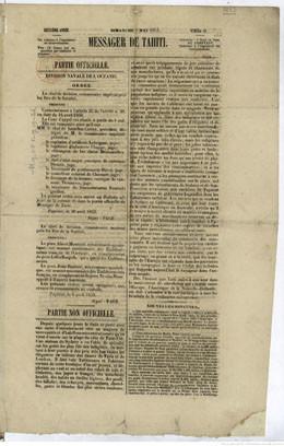 Messager de Tahiti – 1er mai 1853
