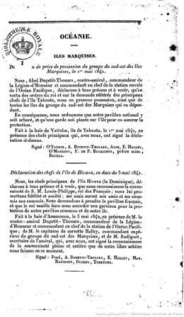 Décision de prise de possession des îles Marquises, le 1er mai 1842