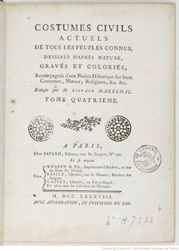 Costumes Civils actuels de tous les Peuples connus (1788)