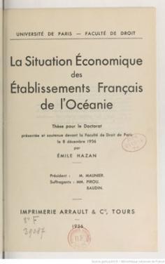 La situation économique des établissements français de l'Océanie (1936)