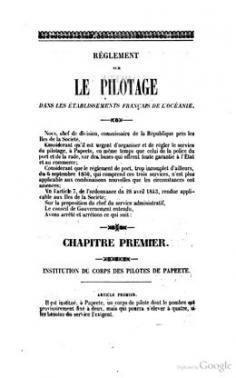 Règlement sur le pilotage dans les EFO (1853)