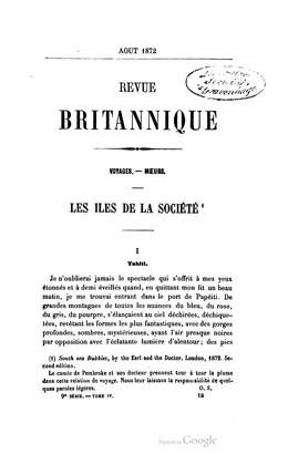 Revue britannique – Les îles de la Société (1872)