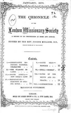 The Chronicle of the London Missionary Society (1870)