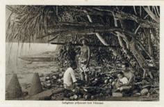 Tahitiens préparant leur déjeuner
