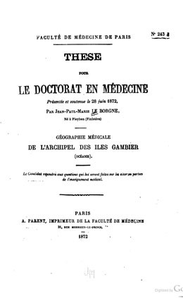 Géographie médicale de l'archipel des îles Gambier (1872)
