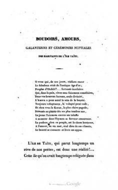 Boudoirs, amours, galanteries, cérémonies nuptiales des habitants de l'île Taïti (1839)