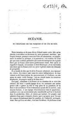 Océanie, de l'occupation des îles Marquises et de l'île de Taïti (1843)