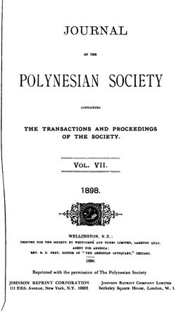 The journal of the Polynesian Society – Vol. VII (1898)