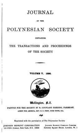 The journal of the Polynesian Society – Vol. V (1896)