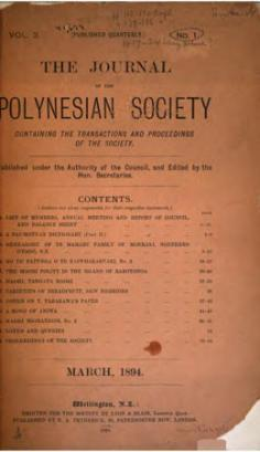 The journal of the Polynesian Society – Vol. III (1994)