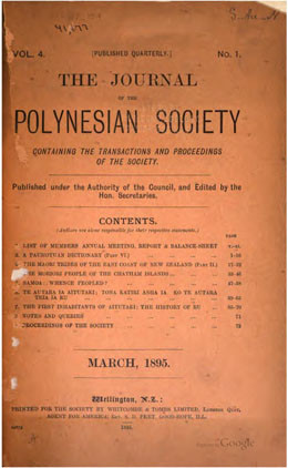 The journal of the Polynesian Society – Vol. IV (1895)