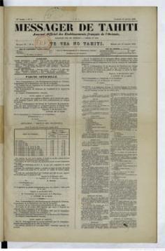 Messager de Tahiti / Te vea no Tahiti du 11 janvier 1878