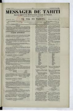 Messager de Tahiti / Te vea no Tahiti du 22 février 1878