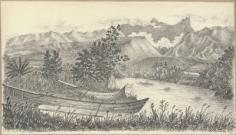 Matavai, rivière et pirogues (1822)