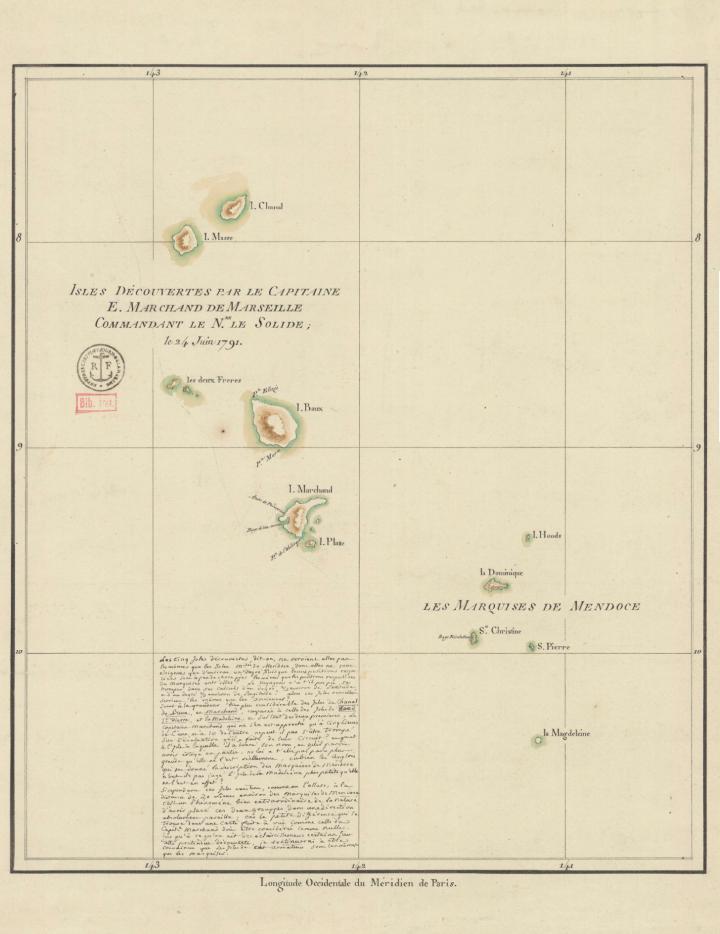 Carte des îles Marquises découvertes par E. Marchand (1791)