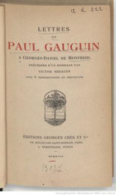 Lettres de Paul Gauguin à Georges-Daniel de Monfreid (1908)