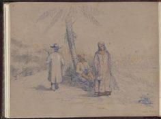 Deux Tahitiennes et un homme européen (1847)