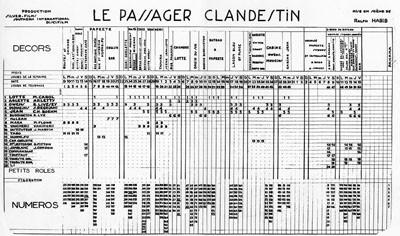 """Planning de tournage du film """"Le passager clandestin"""" (1957)"""